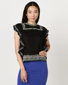 Brave Soul Embroidered Top With Frill At Side Black