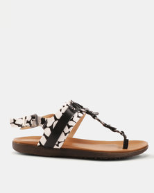 Julz Addy Leather Sandals Black/White