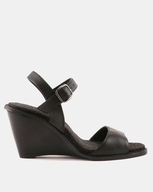 Julz Kennedy Sling Back Leather Wedges Black