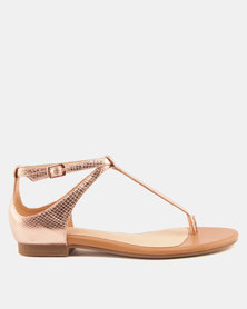 Julz Ruby Leather Sandals Rose Gold