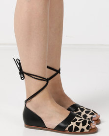 Julz Kez Leather Flats Leopard