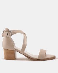 Julz Bailey Leather Block Heels Nude