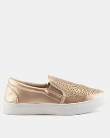 Soviet Erica Ladies Pu Slip On With Laser Cut Front Design Rose Gold