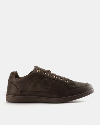 Soviet Rossi Men's PU Low Cut Sneakers Choc Mono