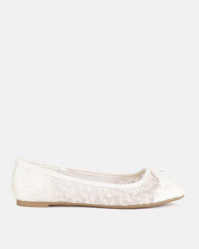 New Look Lace Bow Front Ballet Pumps White
