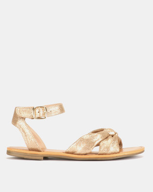 New Look T-Game Glitter Bow Strap Flat Sandals Gold