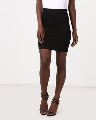 New Look Textured Pencil Skirt Black