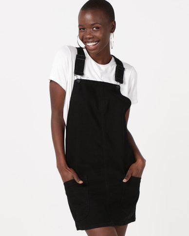 New Look Denim Pinafore Dress Black