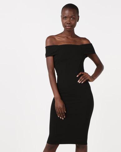 New Look Bardot Scuba Midi Dress Black