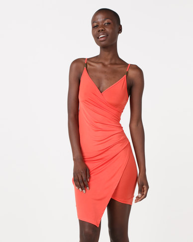 New Look Hardware Strap Asymmetric Wrap Dress Bright Orange