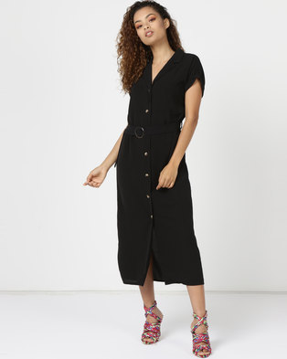 New Look Button Front Belted Midi Shirt Dress Black