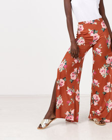 New Look Slinky Split Wide Leg Trousers Rust Floral