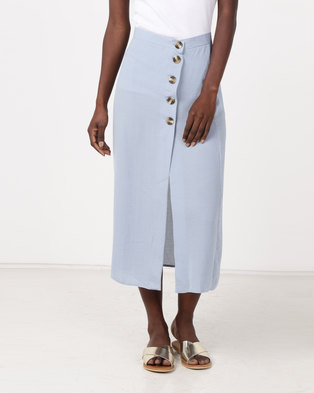 New Look Linen-Look Button Front Midi Skirt Pale Blue