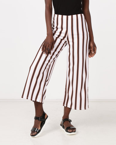 New Look Stripe Crop Scuba Trousers White