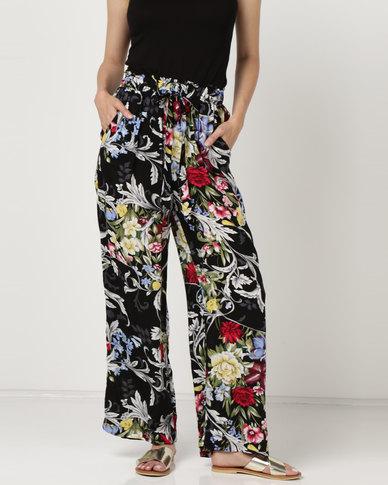 Utopia Tropical Printed Wide Leg Pants Black