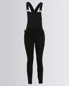 New Look Maternity Rinse Wash Skinny Denim Dungarees Black