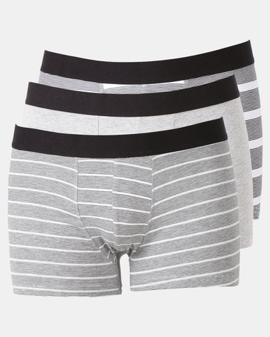 New Look 3 Pack Trunks Grey Stripe