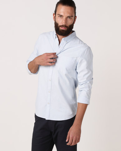 New Look Long Sleeve Oxford Shirt Pale Blue
