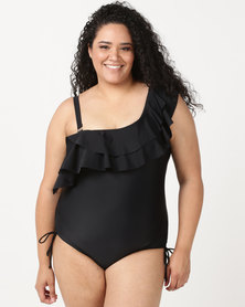 SALT One Shoulder Frill One Piece Black