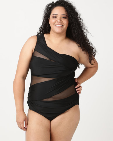b1ee82b6526b5 SALT One Shoulder Mesh One Piece Black
