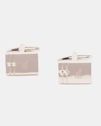 Polo Shiny Rhodium with CZ Stones Cufflinks