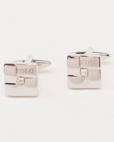 Polo Matt & Shiny Rhodium with CZ Centre Cufflinks Silver
