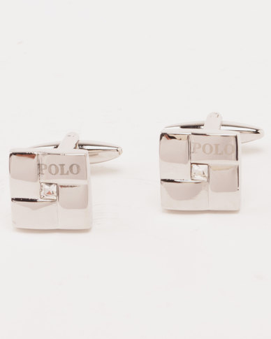 Polo Matt & Shiny Rhodium with CZ Centre Cufflinks Silver