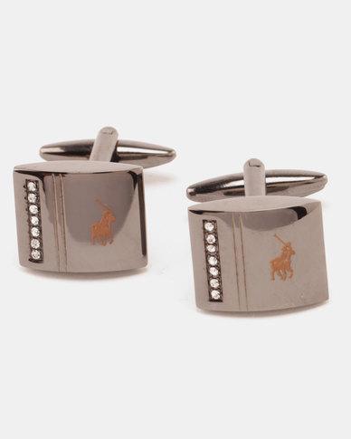 Polo Gunmetal With CZ Stones Cufflinks