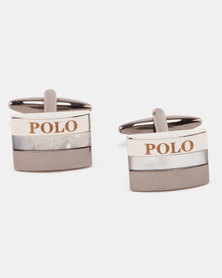 Polo Shiny Rhodium Shiny MOP Cufflinks Gunmetal