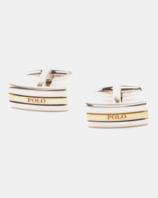 Polo Shiny Two Tone Cufflinks  Rhodium & Gold