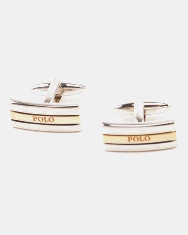 Polo Shiny Two Tone Cufflinks  Rhodium & Gold