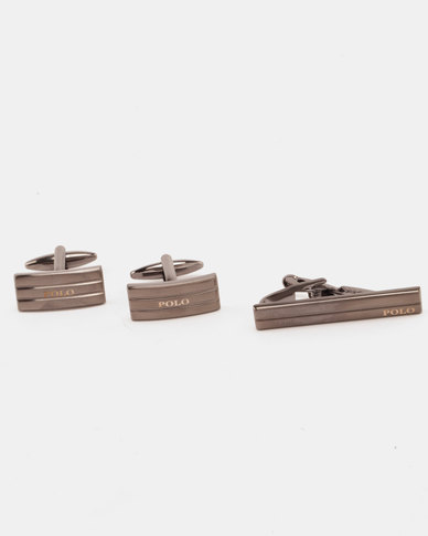 Polo Cufflink and Tie Clip Set Gunmetal