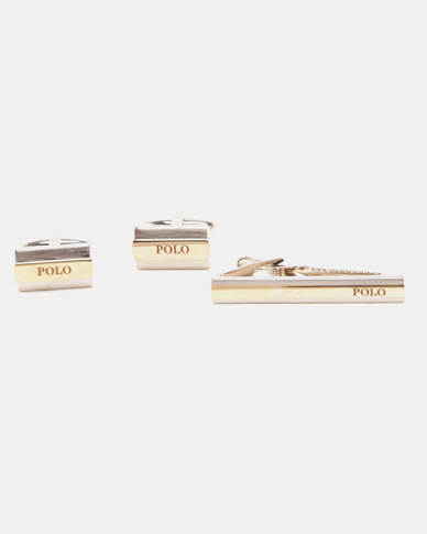 Polo Rhodium Cufflink and Tie Clip Set Gold Two Tone