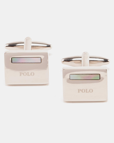 Polo Rhodium With MOP Cufflinks Silver