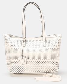 Queenspark Triple Row Detailed Bag White