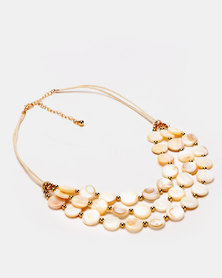 Queenspark 2 Row MOP Disk Necklace White