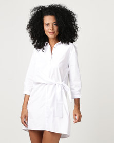 G Couture Front Tie Long Blouse Dress White