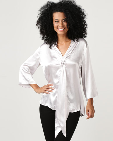 G Couture Twisted Front Detail Blouse Mink