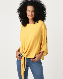 G Couture Draped Front Knot Top With Split Sleeve Mustard