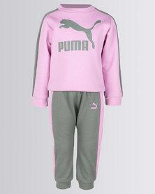 Puma Mini Me Prime T7 Crew Jogger Set Pink