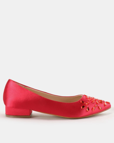 Utopia Crystal Pointy Flats Cerise Pink