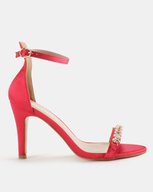 Utopia Embellished Barely There Heels Cerise Pink