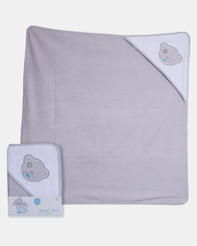 Tiny Tatty Teddy Hooded Towel Grey