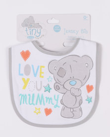 Character Brands Tiny Tatty Teddy Jersey Bib Grey