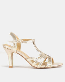 Viameera Sling Back Metallic Heels Rose Gold