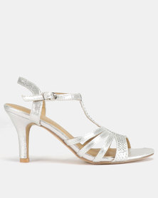Viameera Sling Back Metallic Heels Silver