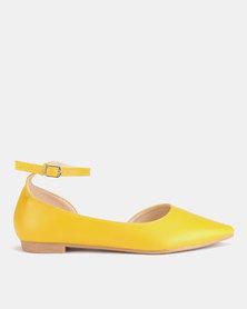 AWOL Ankle Strap Flats Mustard PU