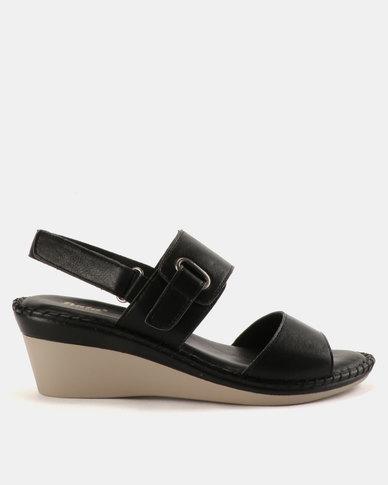 Bata Ladies Wedge Back Strap Comfit Sandals Black