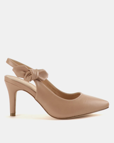 4e0738456956d Bata Ladies Slingback Bow Dress Shoes Beige