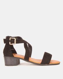 Model Me by Jada Microfibre Low Block Heels Black